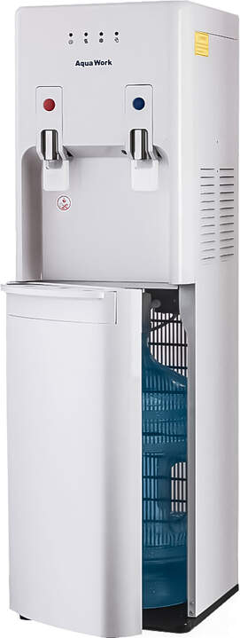 Кулер для воды Aqua Work 1447-S белый с загрузкой снизу, нагрев и компрессорное охлаждение