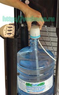 Установка бутыли в кулеры Aqua Work 1243 и 1245-S