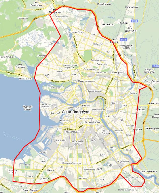 территория доставки по Санкт-Петербургу