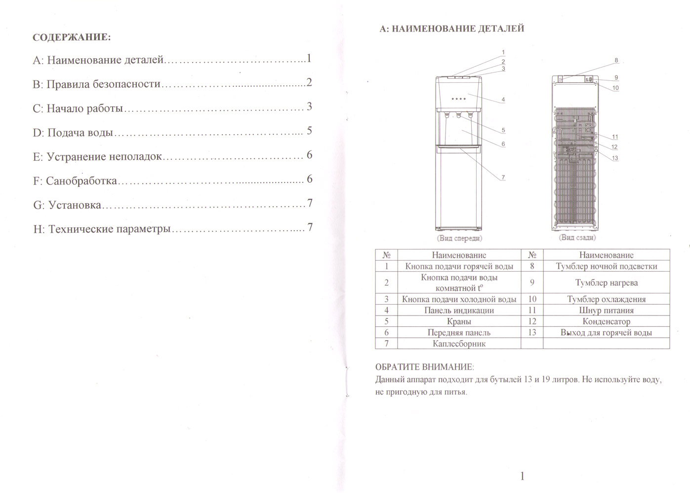 кулер Aqua Work 1245S паспорт