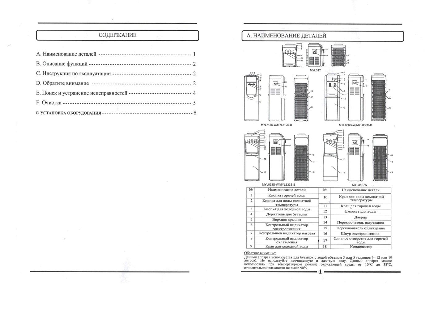 кулер Aqua Work 712-S-B паспорт