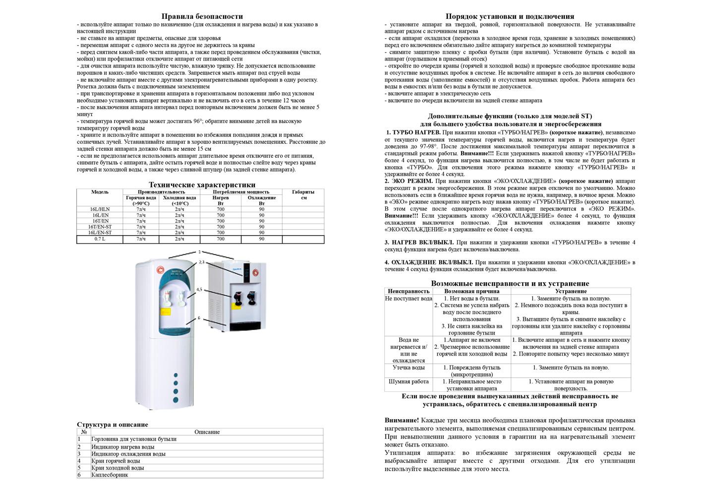 Компрессорный кулер Aqua Work паспорт