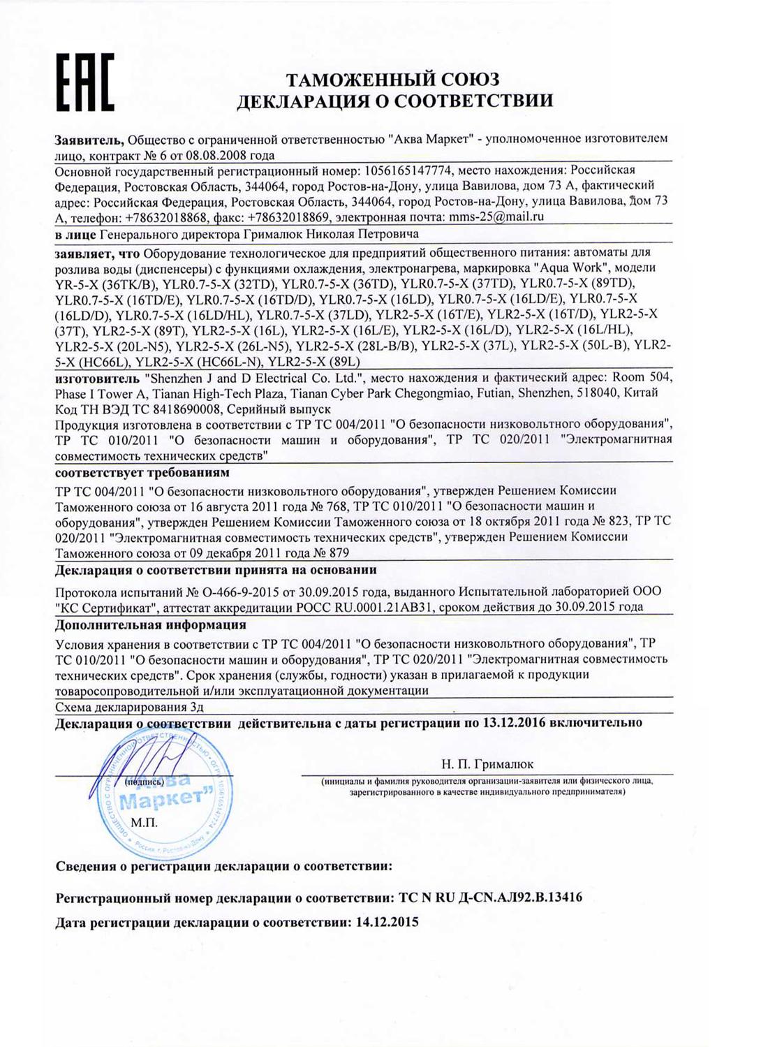 кулер Aqua Work HC-66-L-N сертификат