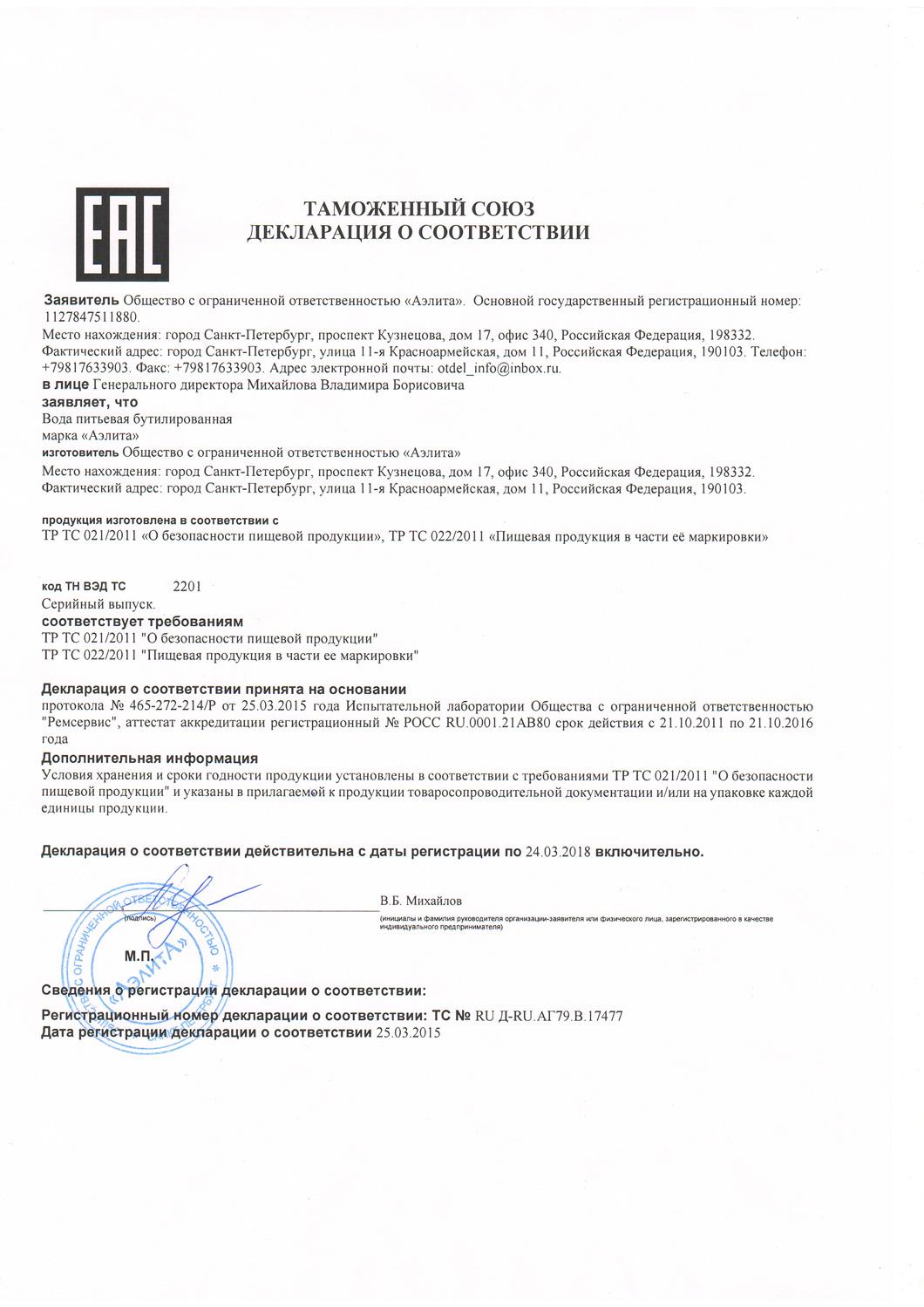 Питьевая вода Аэлита сертификат