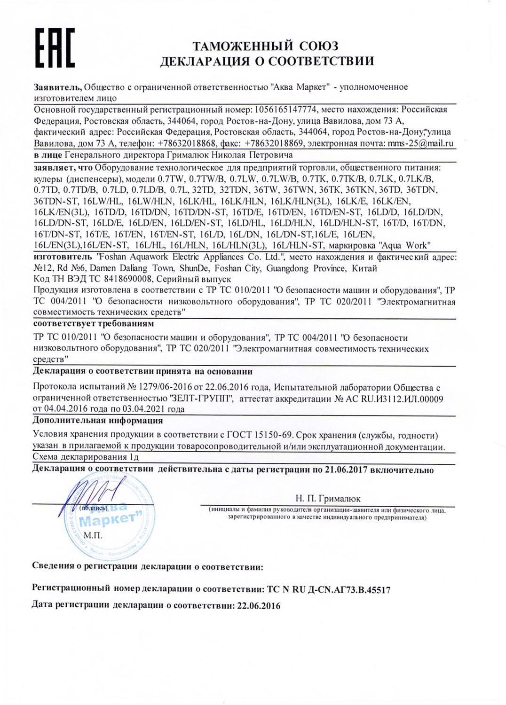Кулер Aqua Work сертификат