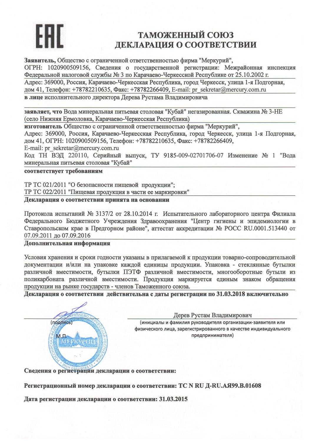 Вода Кубай сертификат