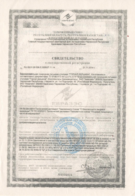 Вода Горная вершина сертификат