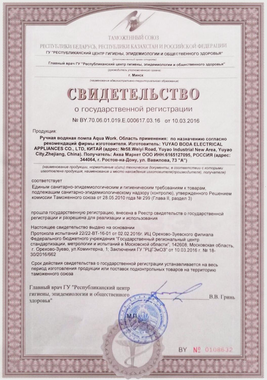 Помпы для воды Aqua Work сертификат