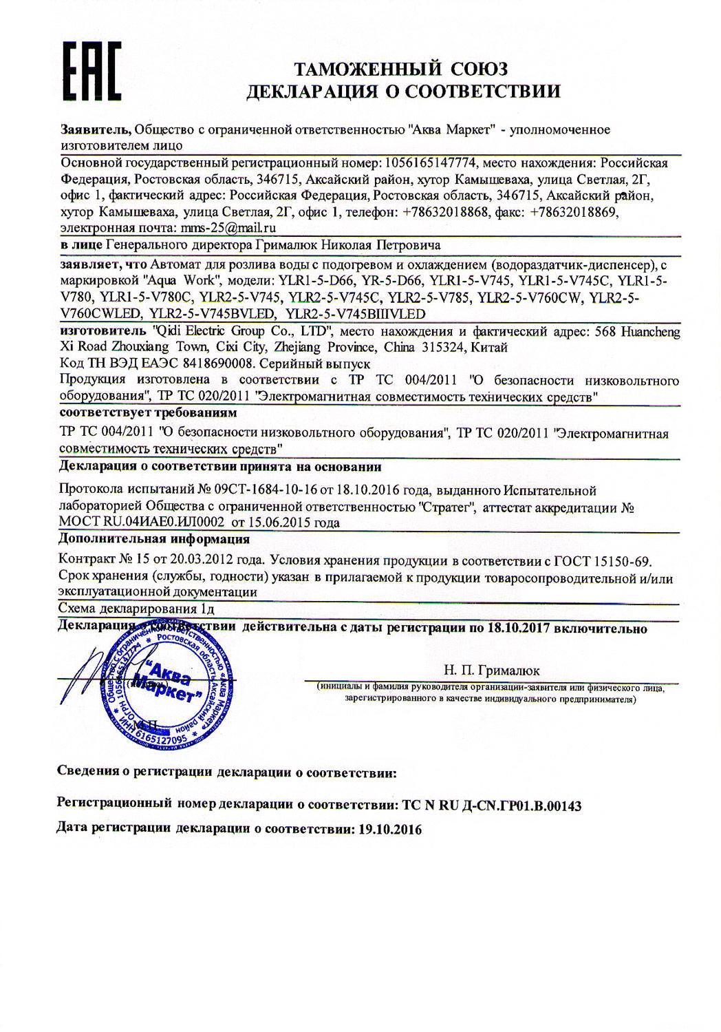 кулер Aqua Work V745B сертификат