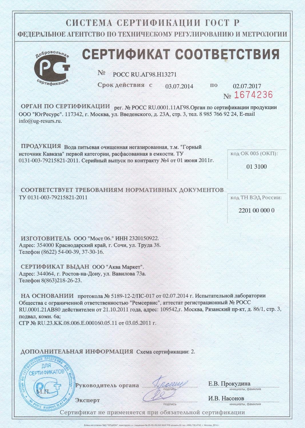 Вода Горный Источник Кавказа сертификат