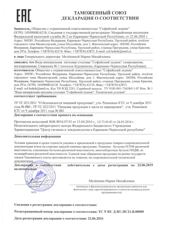 Вода Софийский Ледник сертификат